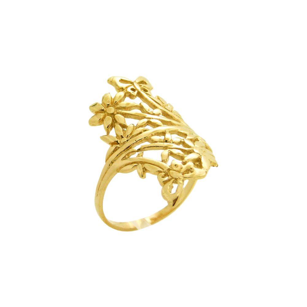 3ff335b4f9747 Anel Folheado a Ouro Borboletas e Flores - World Best - Fábrica de ...