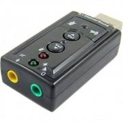 Adaptador Placa De Som Usb 7.1 Entrada P2 Fone e Microfone