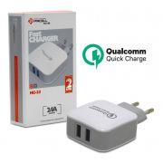 Carregador Fast Charger 2.4A para Smartphone 2 Usb HC 23 Pmcell