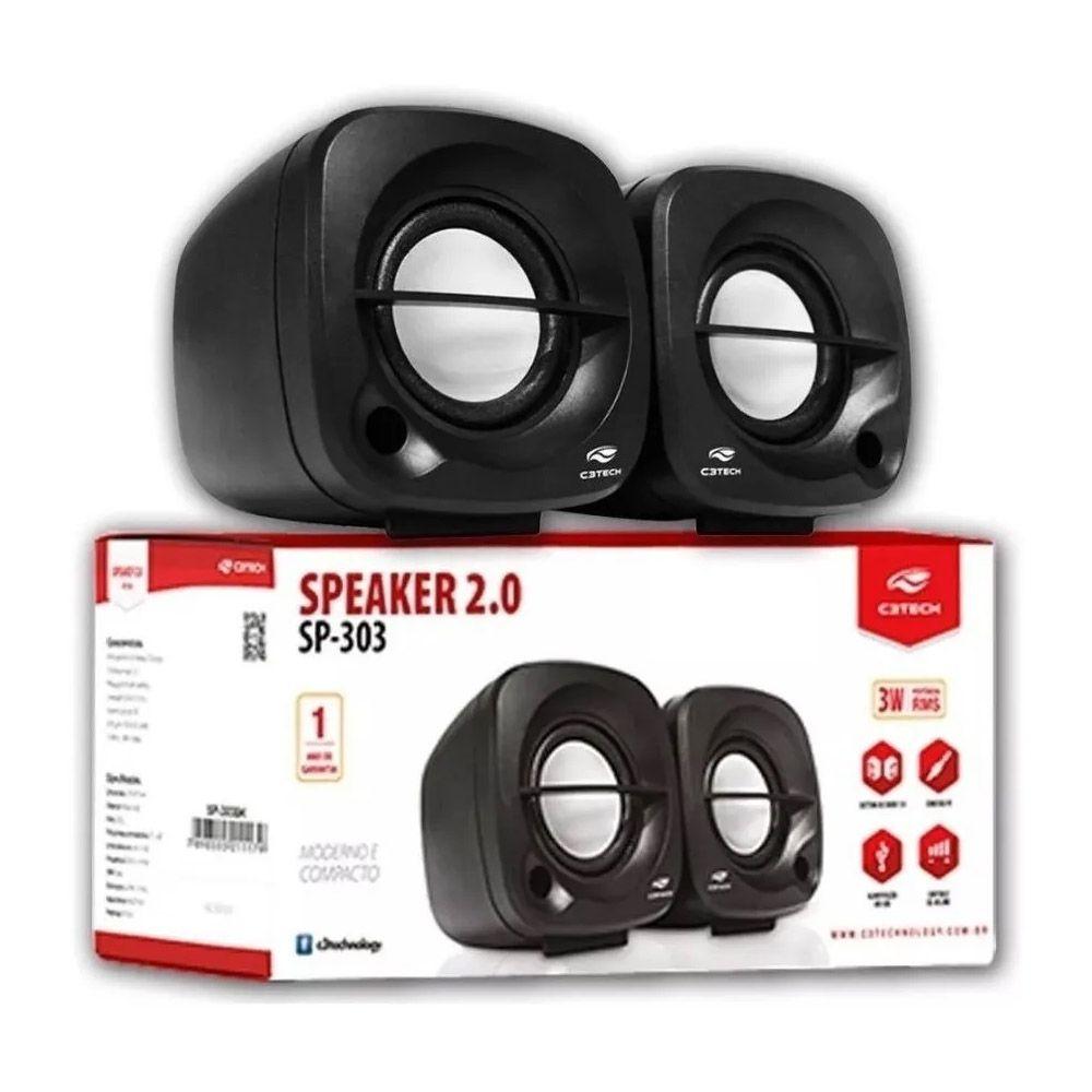 Caixa de Som USB C3Tech 3W sp303br Preto