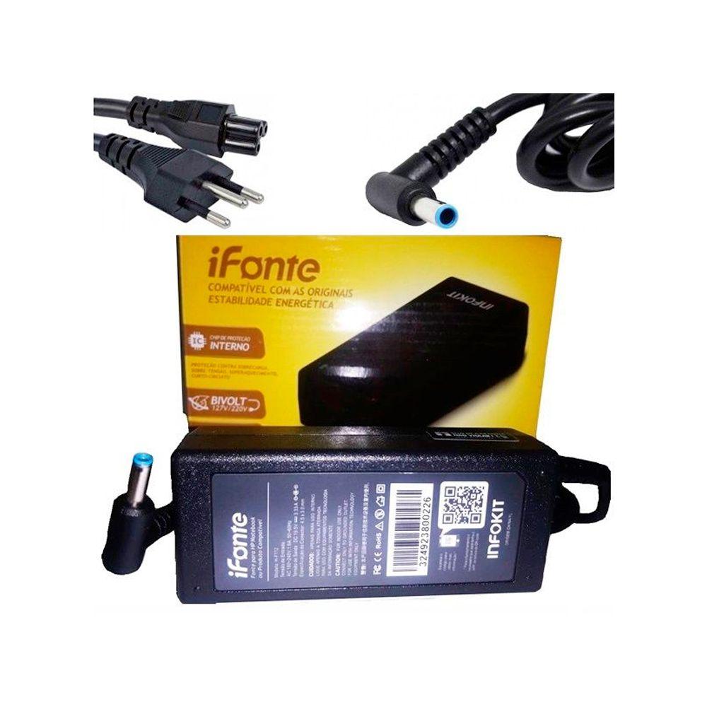 Fonte p/ Notebook HP 65W/19.5V/3.33A/4.5X3.0MM Infokit H-F112 (com agulha boca azul)