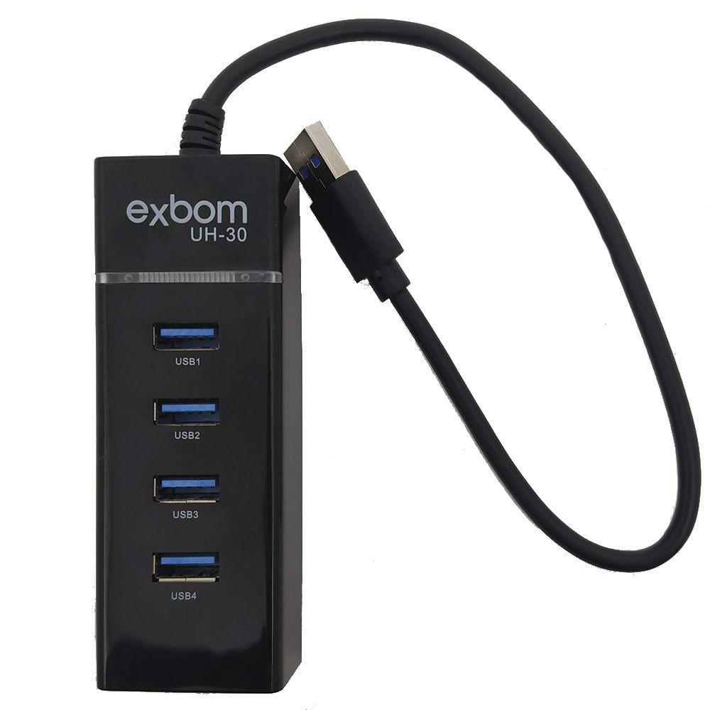 Hub USB 3.0 4 portas EXBOM UH-30