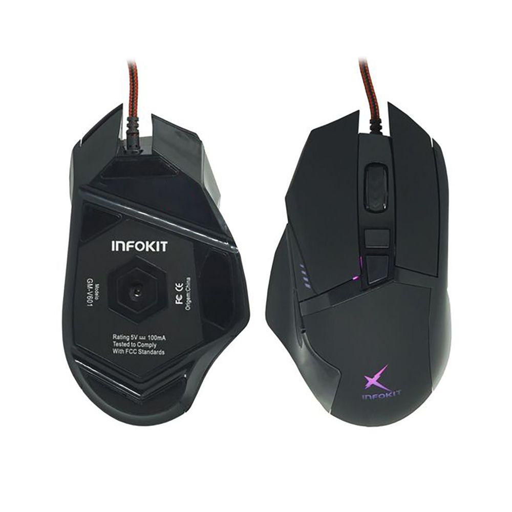 Mouse Gamer usb Infokit Soldado com iluminação RGB GM-601