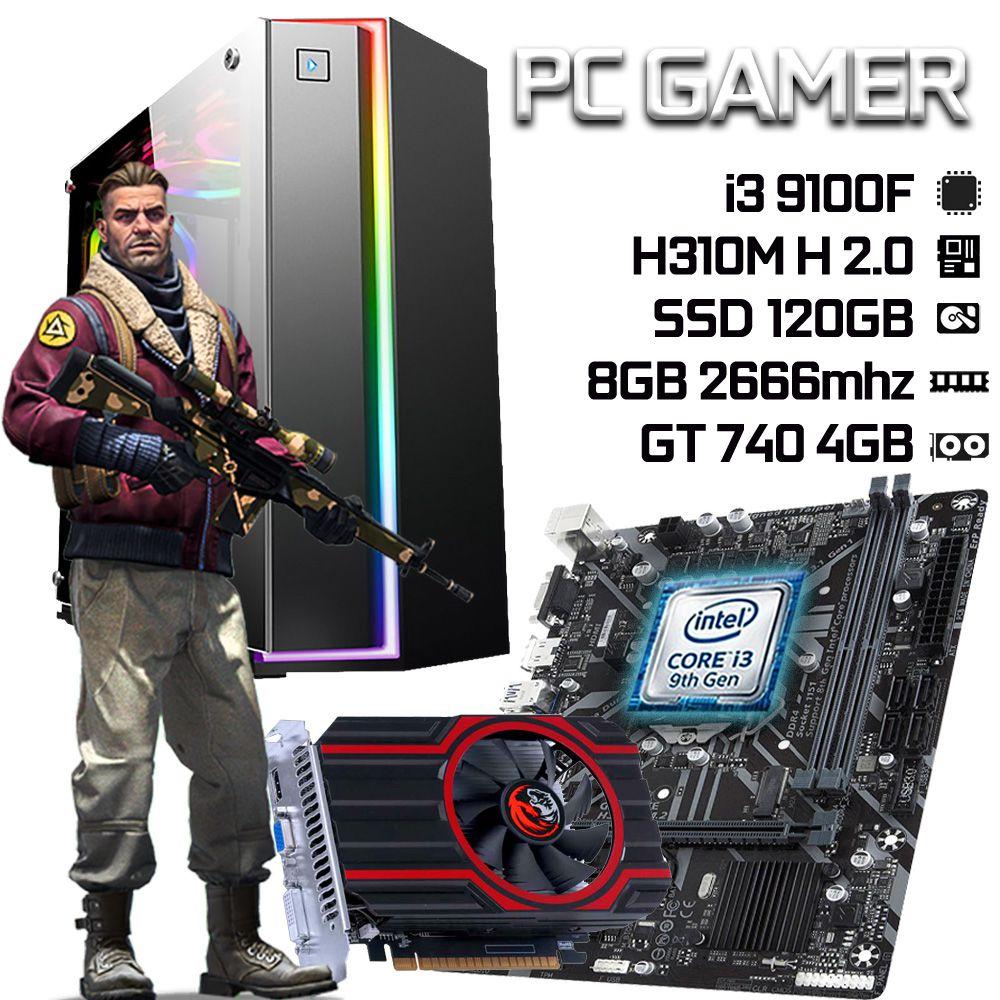 PC Gamer i3 9100F H310 8GB 2666MHz SSD 120GB GT 740 4GB FONTE 400W 80+ Bronze