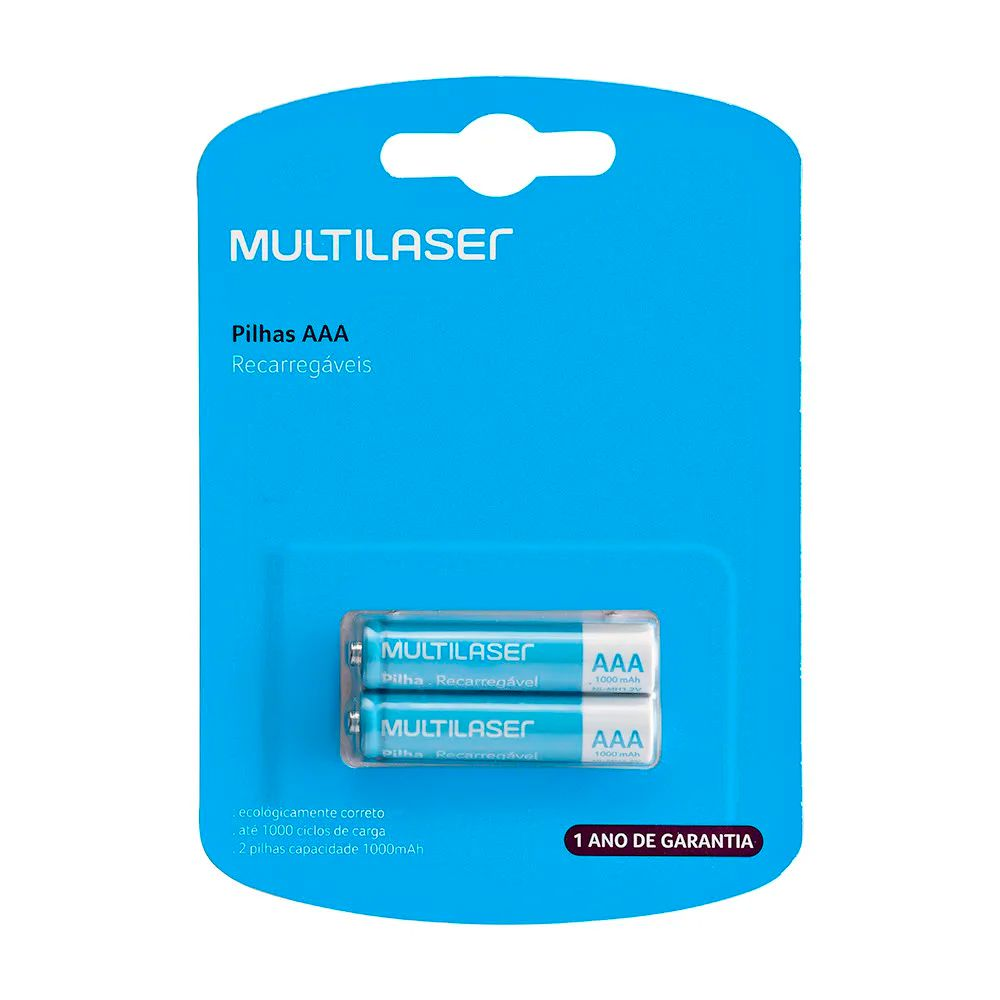Pilha Recarregável  AAA -1000MAH com 2 (CB051) - Multilaser