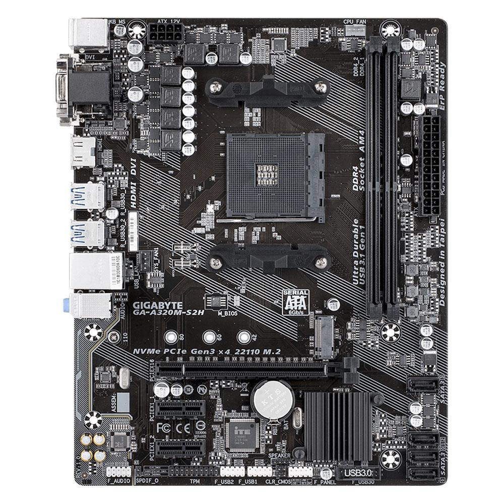 Placa Mãe AMD Am4 Gigabyte GA-A320M-S2H Ddr4 Hdmi / Dvi / Vga