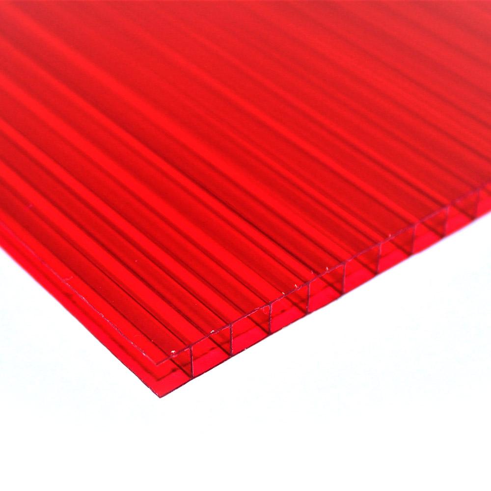 Chapa de Policarbonato Alveolar Vermelho 6mmx1050mmx6000mm