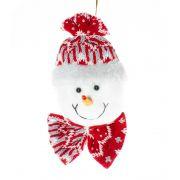 Boneco de neve pendente com Laço - 18 cm
