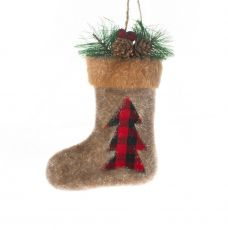 Bota natalina com enfeite em pinheiro - 20 cm
