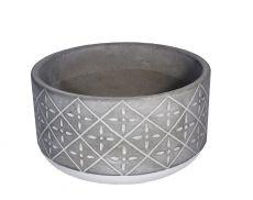 Vaso de cimento redondo baixo M - 10cm altura  X 19cm boca