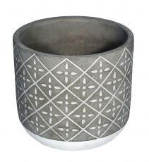 Vaso de cimento redondo alto M - 12cm altura X 13cm boca