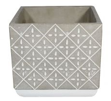 Vaso de cimento quadrado G - 16cm altura X 16cm  boca
