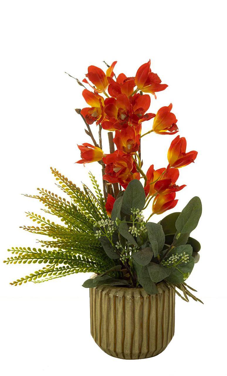 Arranjo De Orquídea C/ Folhagem Para O Dia Das Mães