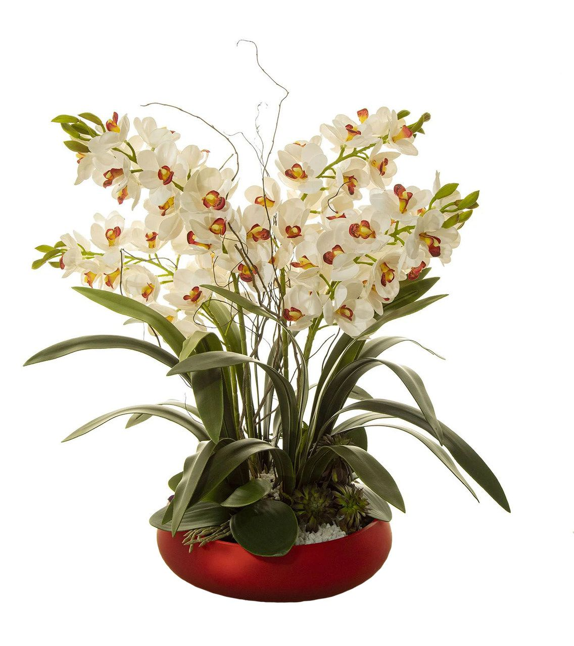 Arranjo De Orquídea C- Vaso Vermelho Para O Dia Das Mães