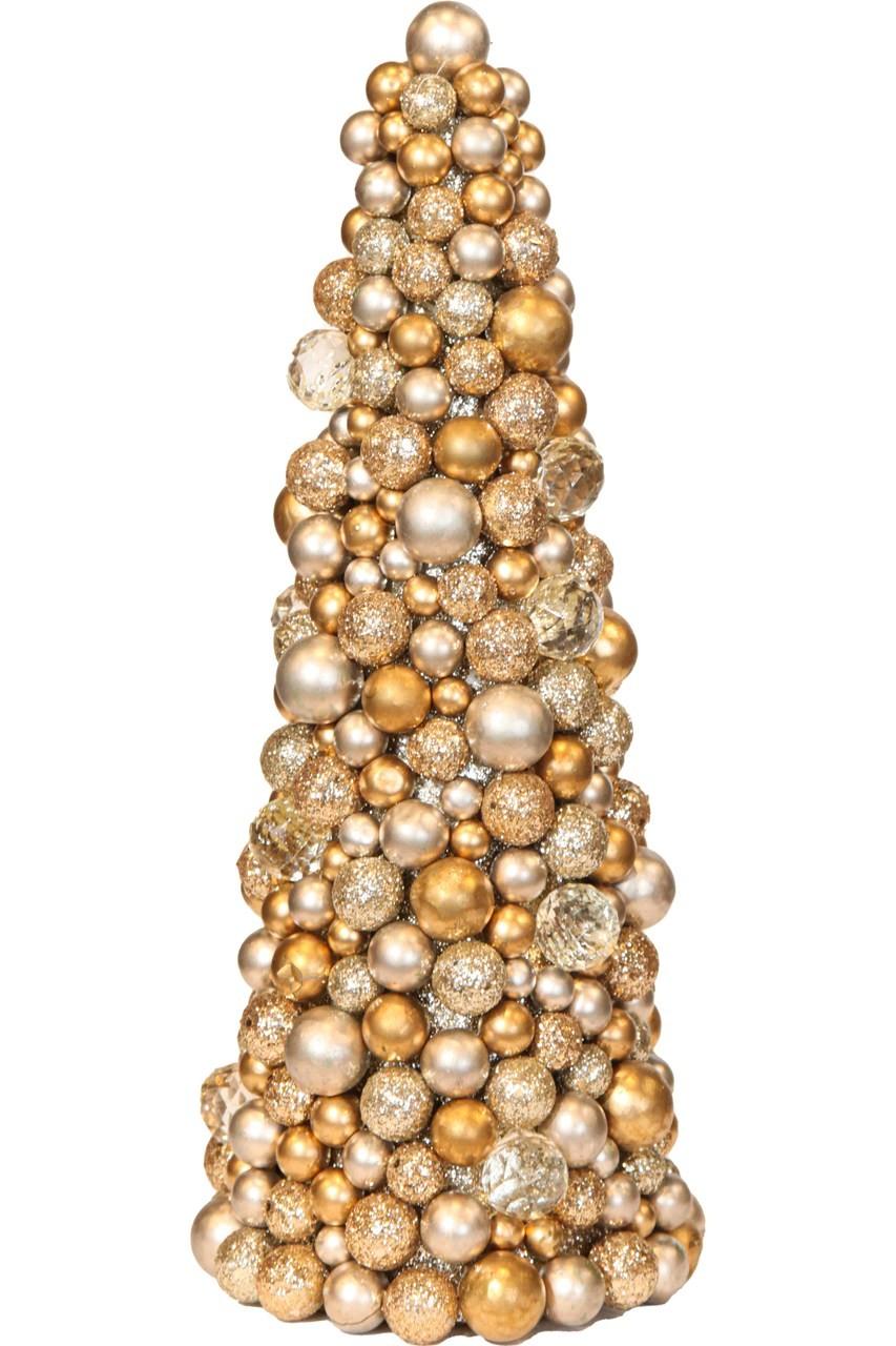 Árvore De Natal De Bolas Dourada 34 Cm