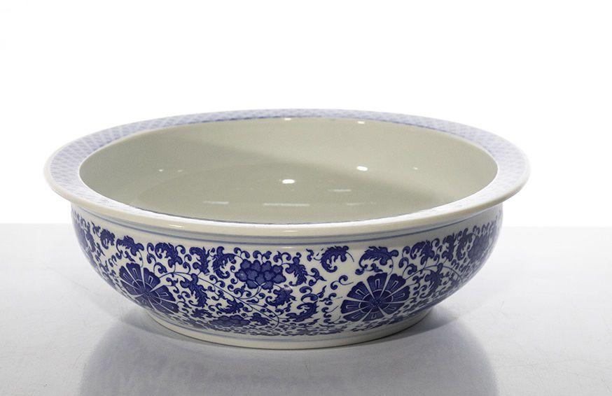 Bacia Cerâmica Chinesa Azul E Branco - 42Cm