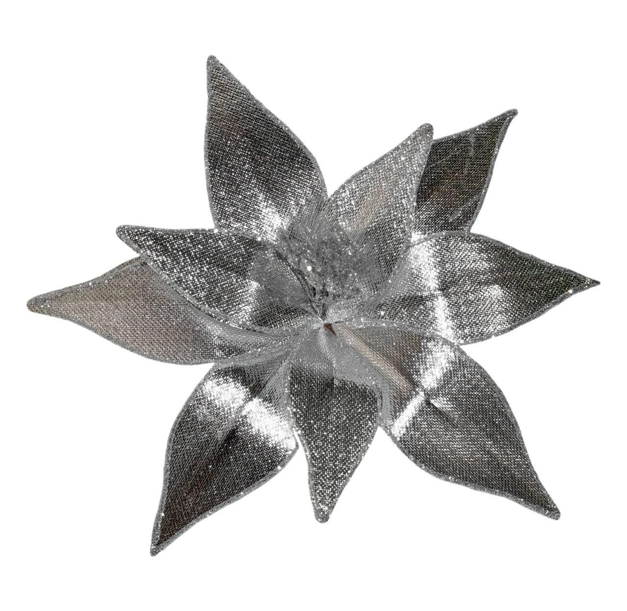 Flor Bico De Papagaio De Prata - 25 Cm