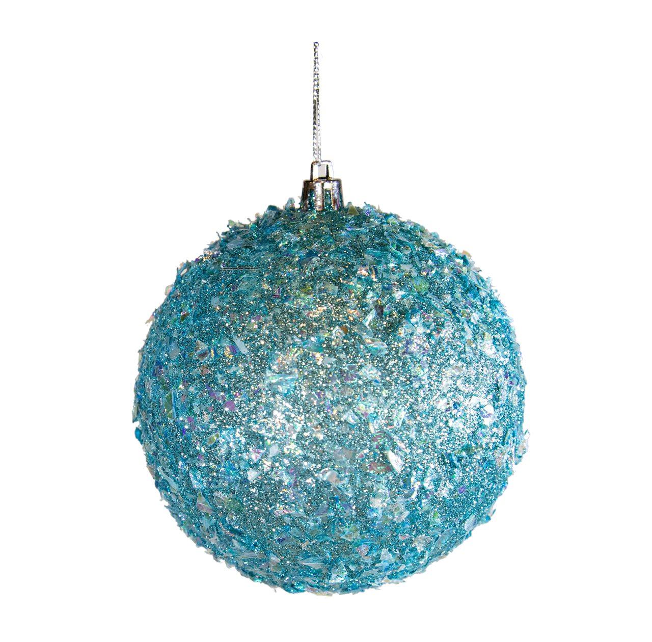 Bola Natalina Azul Com Estrelas Brilhantes - 1 Unidade