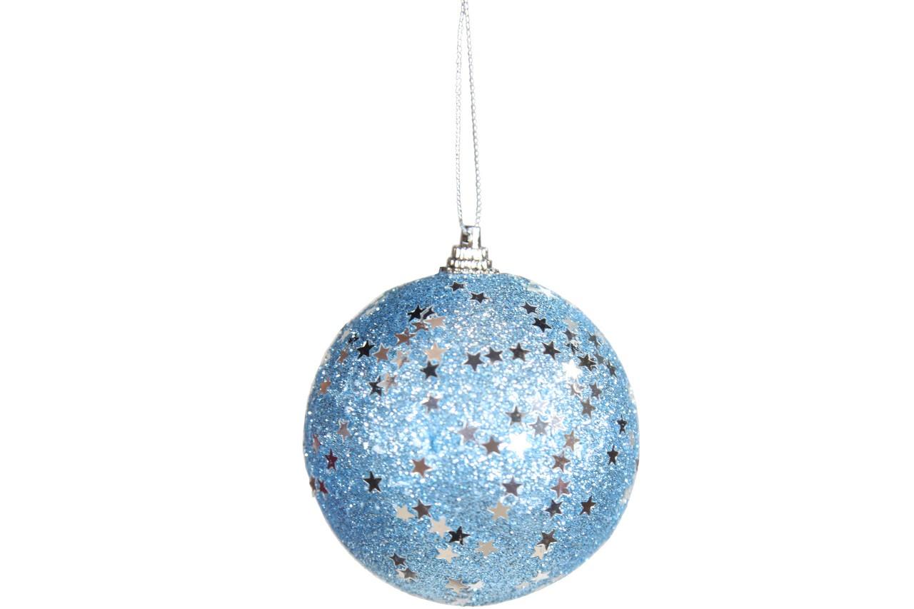 Conjunto De Bolas Natalinas Azul Com Estrelas Brilhantes Com 3 Bolas