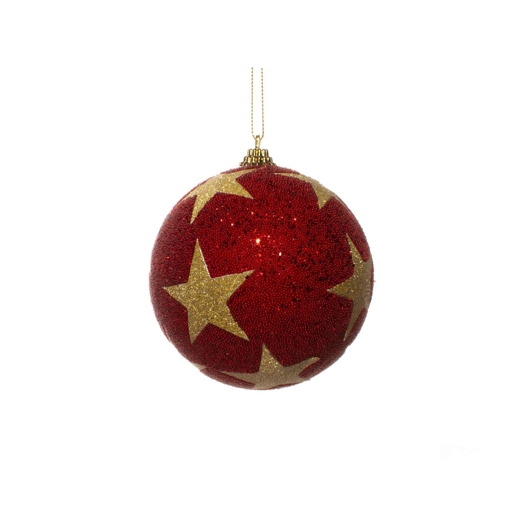 Bola Natalina Vermelha Com Estrelas Douradas - 1 Unidade