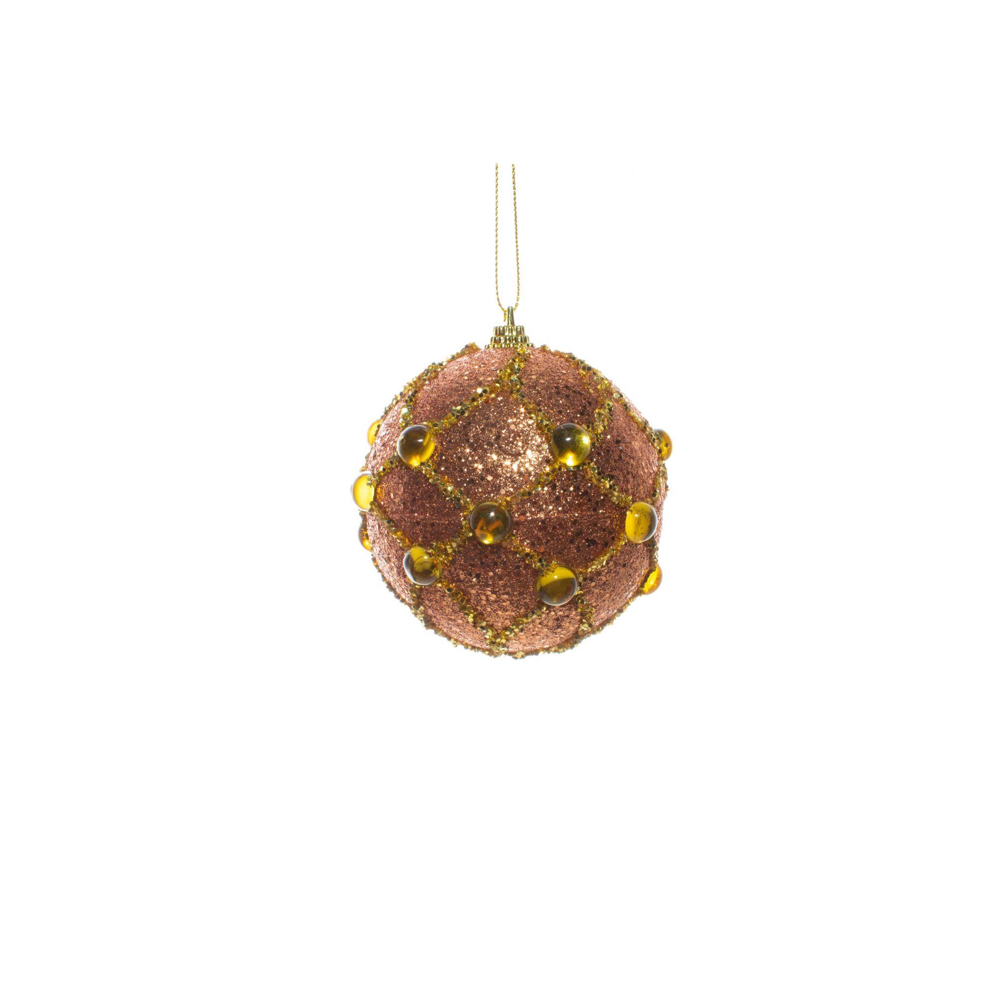 Bola Natalina Com Pedras Douradas
