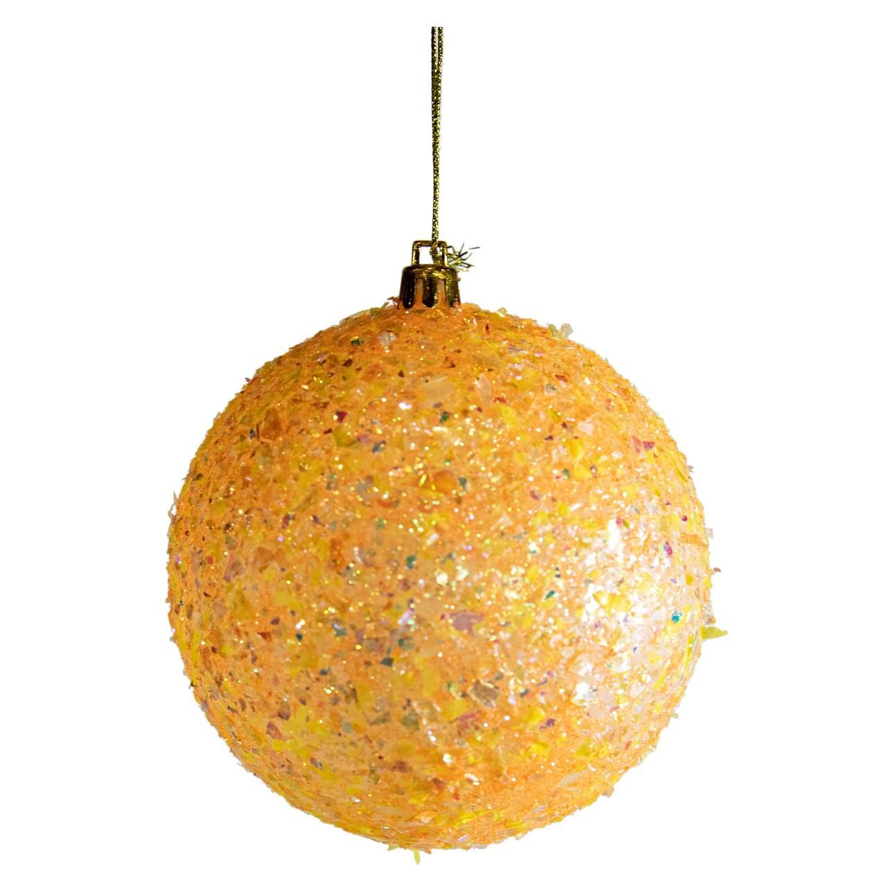 Bola Natalina Dourada Com Estrelas Brilhantes - 1 Unidade