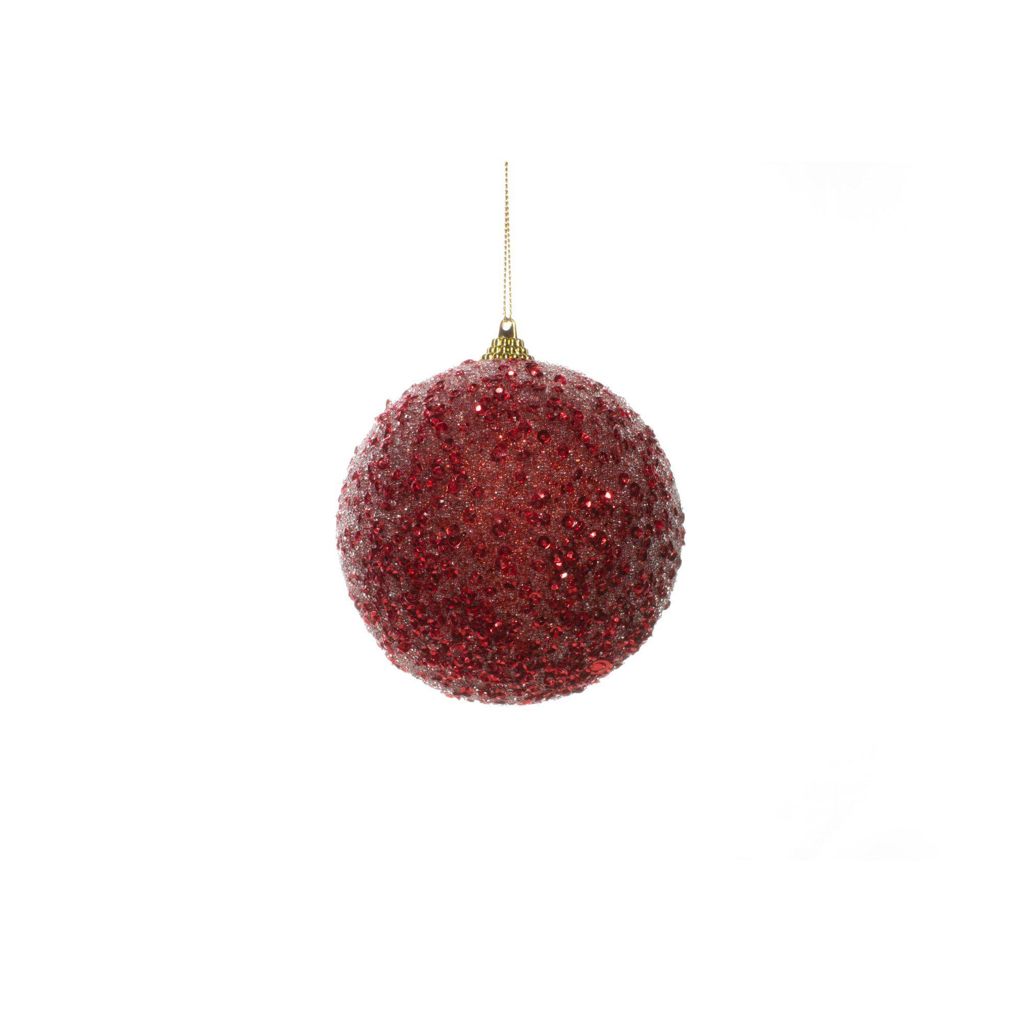 Bola Natalina Vermelha Com Paetês - 1 Unidade