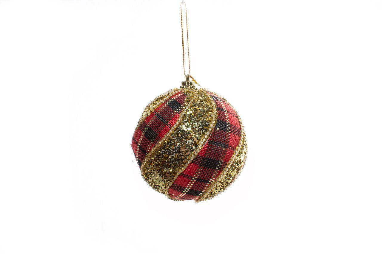 Bola Natalina Vermelha Listrada Com Detalhes Dourados - C/3
