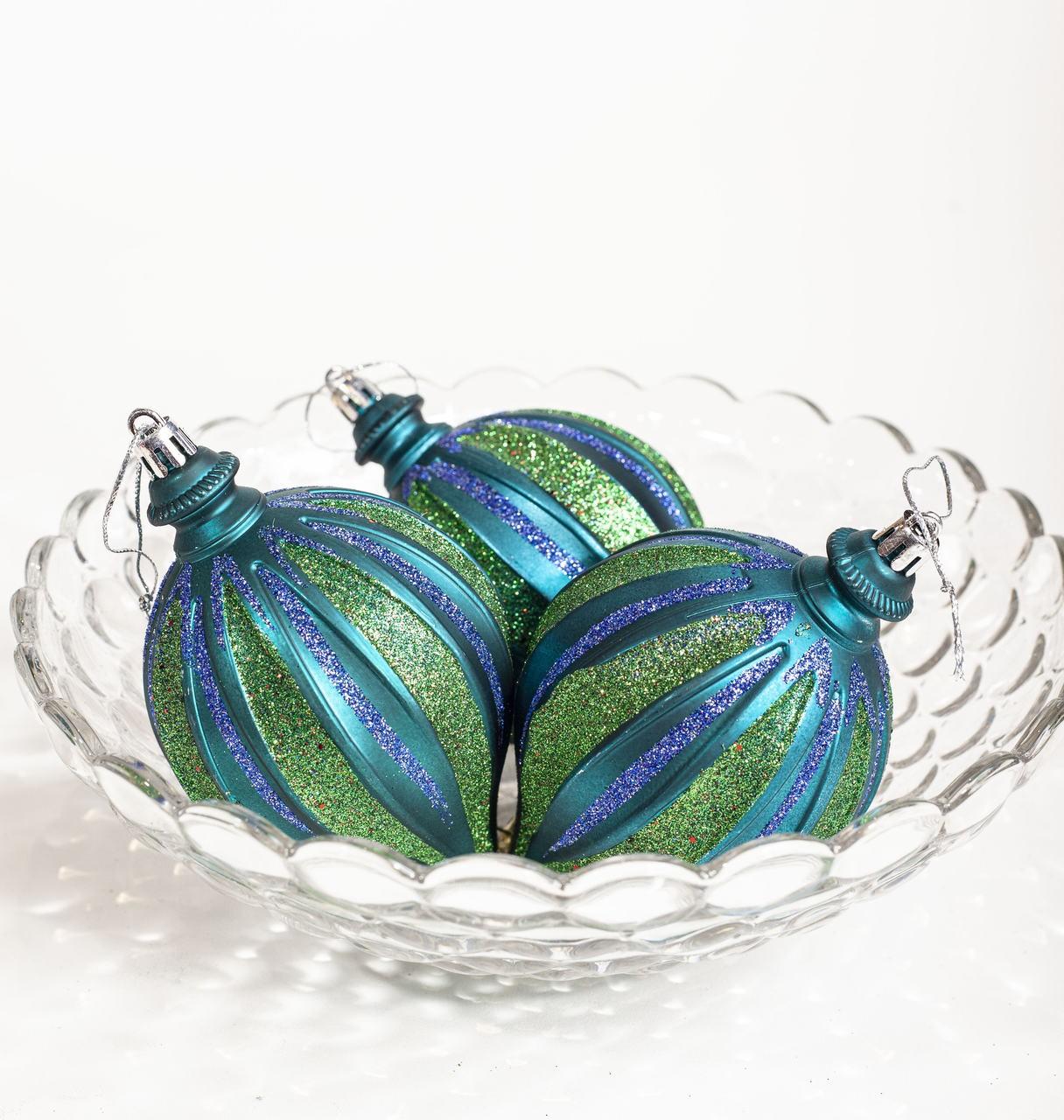 Bola Pião Natalina Verde Azulado Com Listras Brilhantes - 3 Un