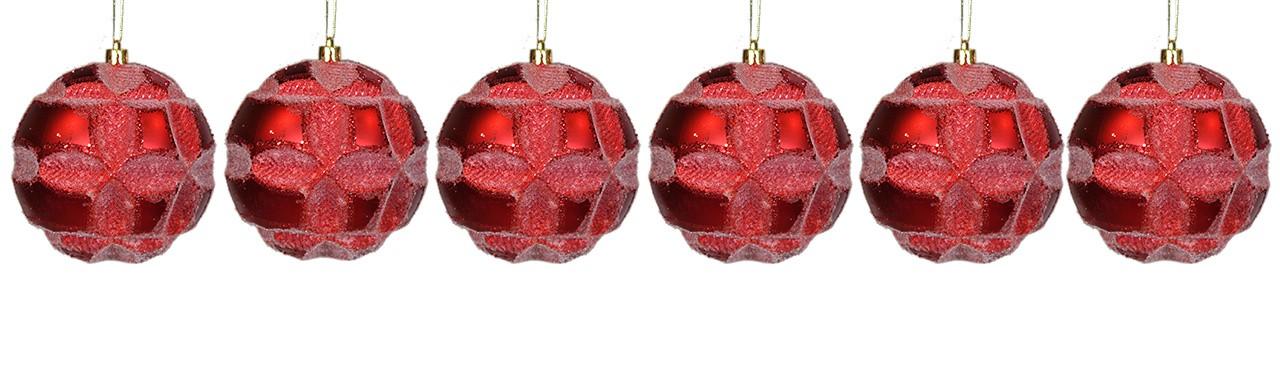 Bolas Natalinas Vermelho com 6 Unidades