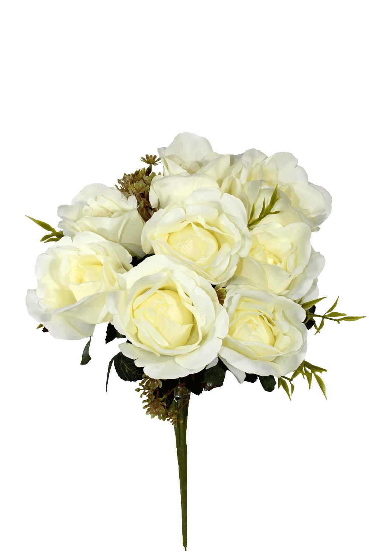Buquê De Rosa - X9 - 37Cm - Branca