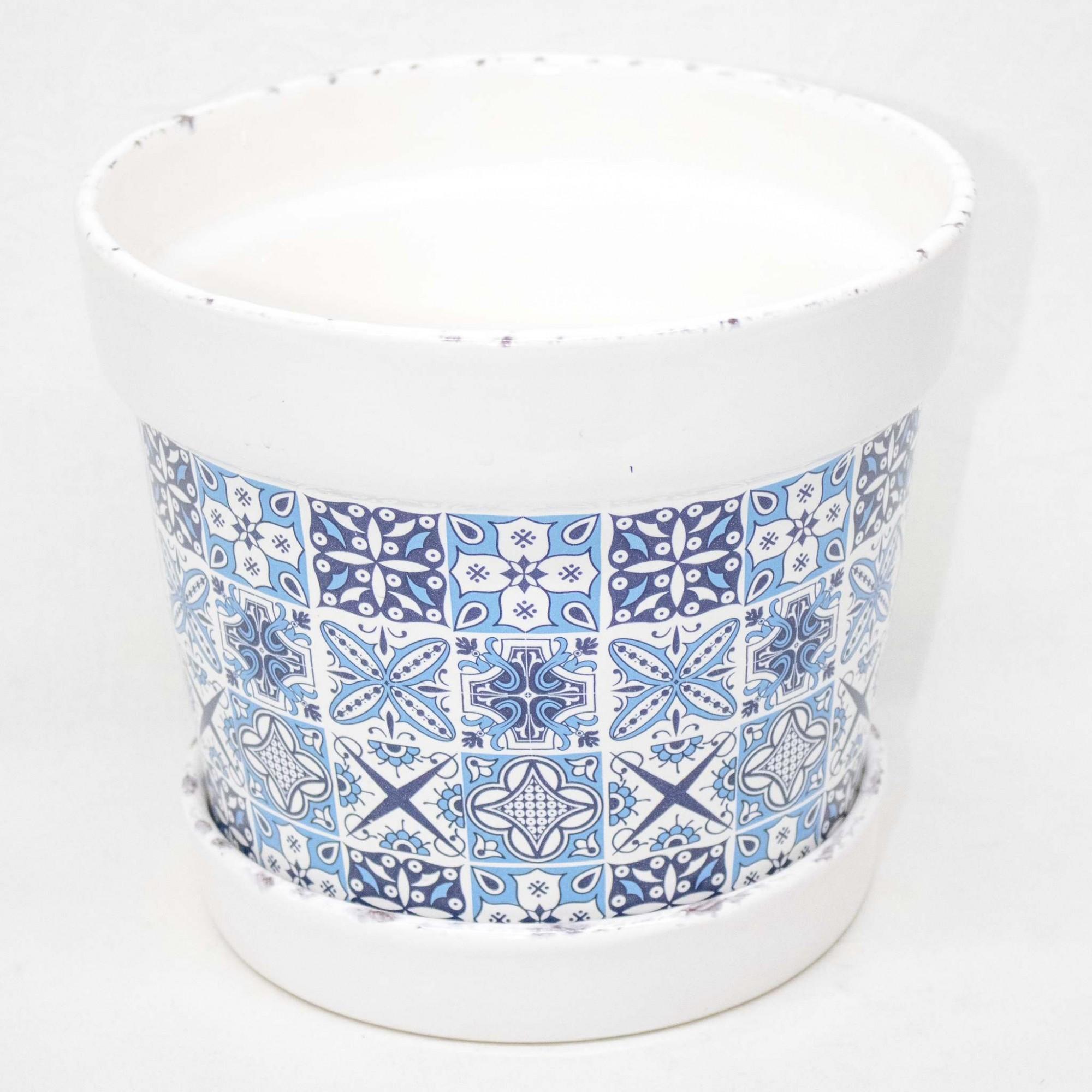Cachepo N3 C/ Borda E Prato Esmaltado - Azul/Branco