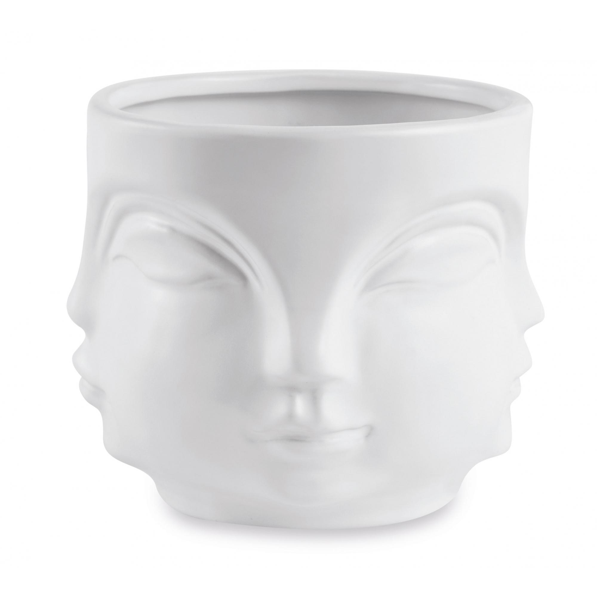 Cachepot Branco Em Ceramica