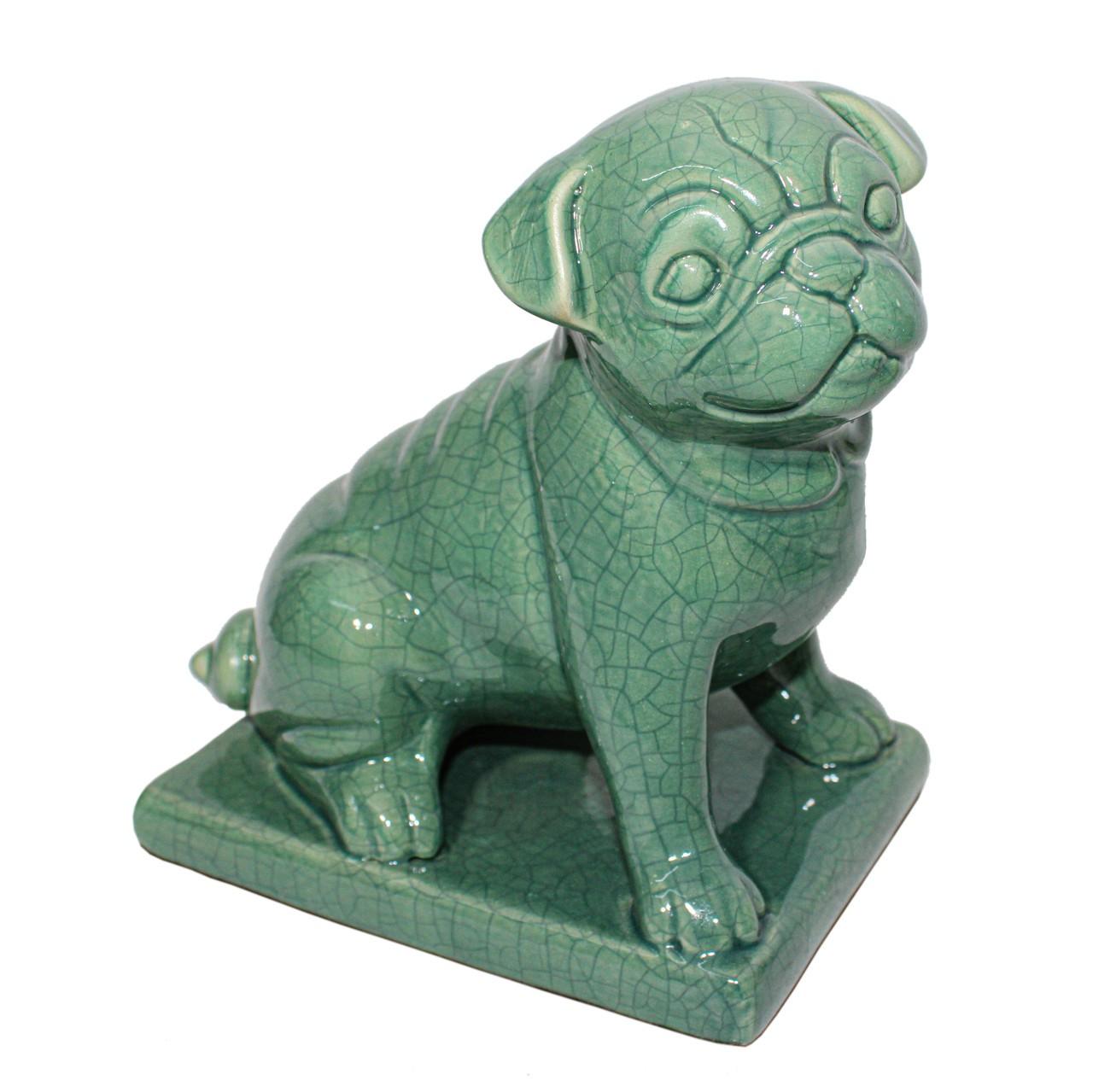 Cachorro Sentado Verde Escuro