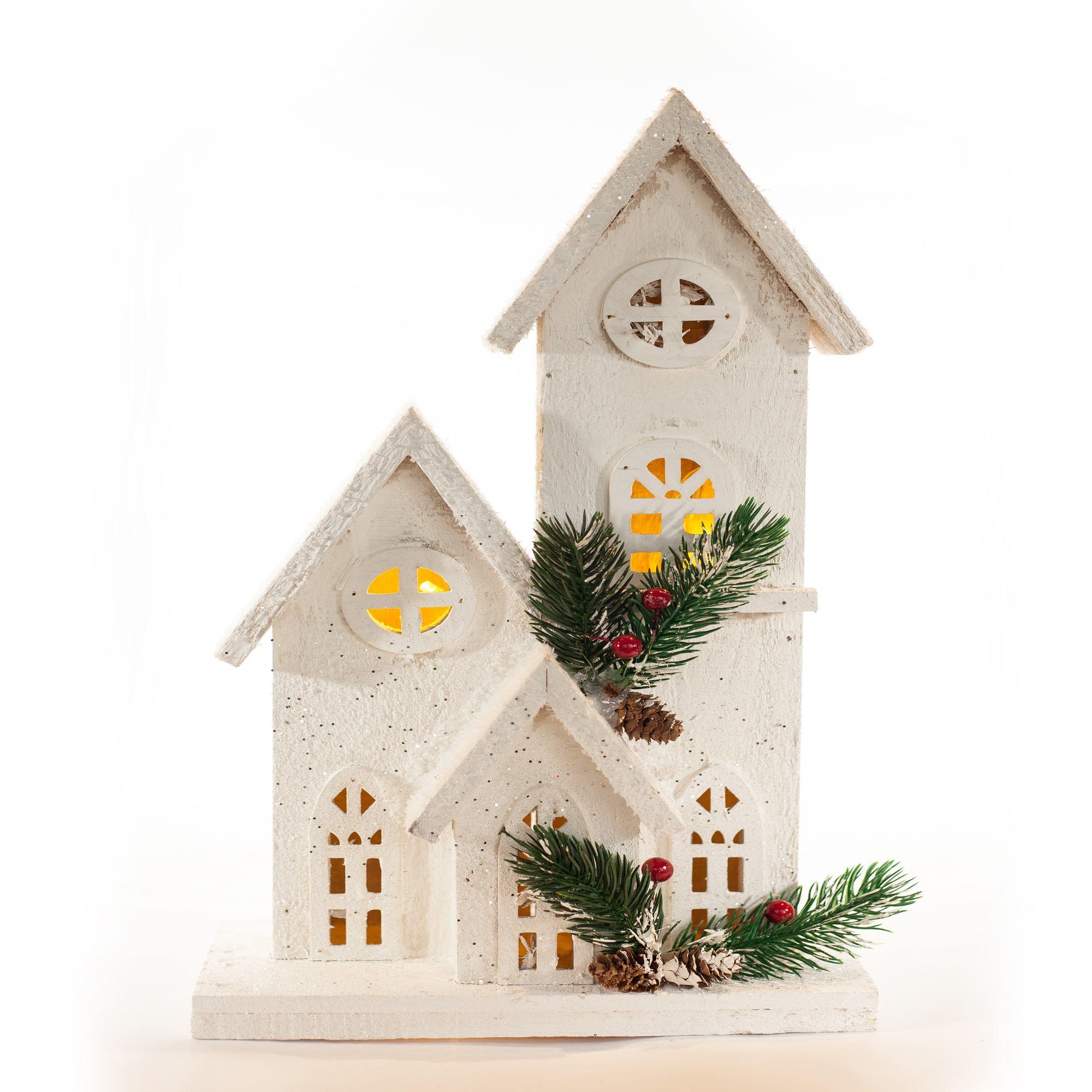 Casa Natalina De Madeira Branca - 40 Cm