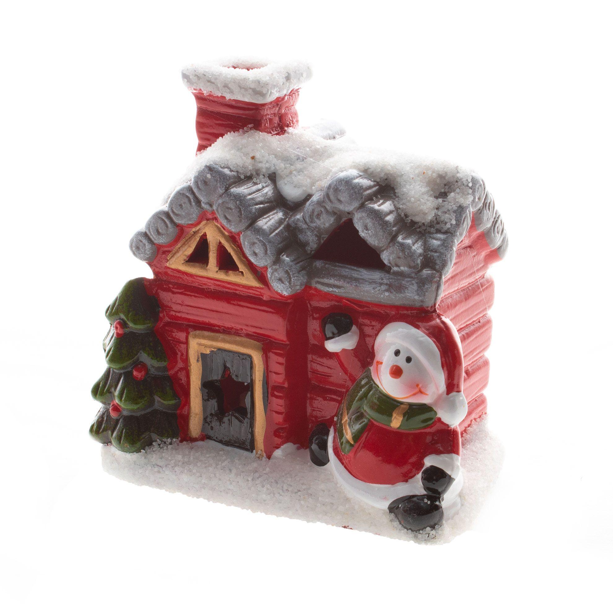 Casa Natalina Nevada Com Led - 10 Cm Altura
