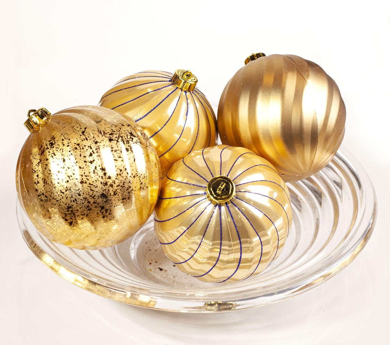 Conjunto Bolas Natalinas Douradas - 4Un