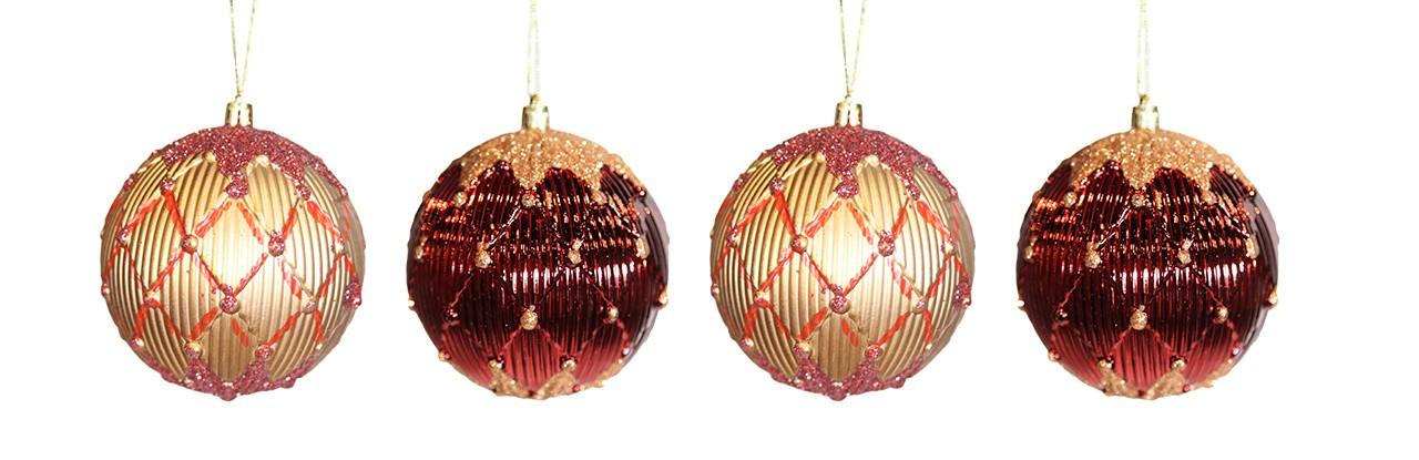 Conjunto Bolas Natalinas Dourado E Vermelho - 4 Unidades