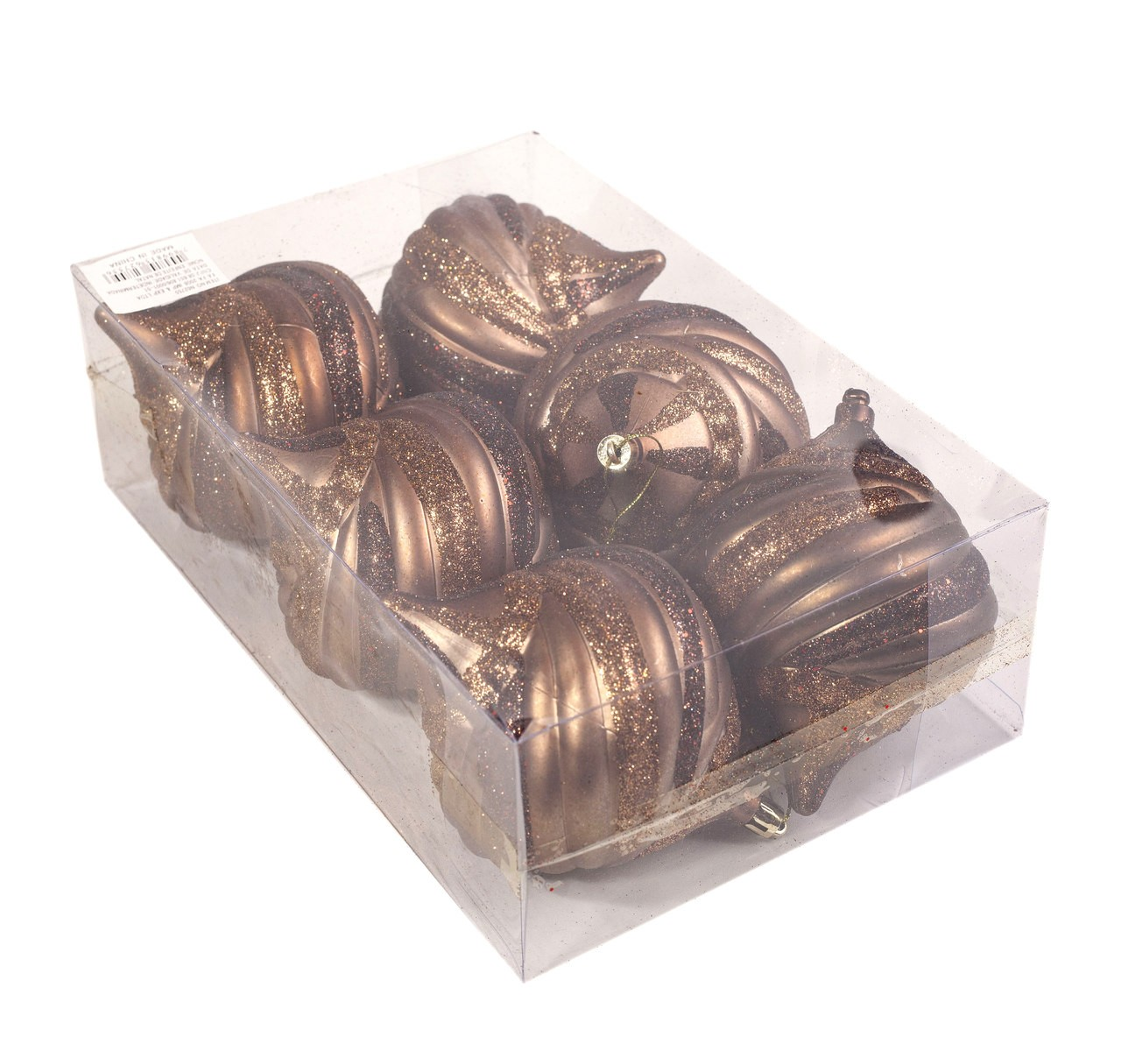 Conjunto Bolas Natalinas Marrom Com 6 Unidades