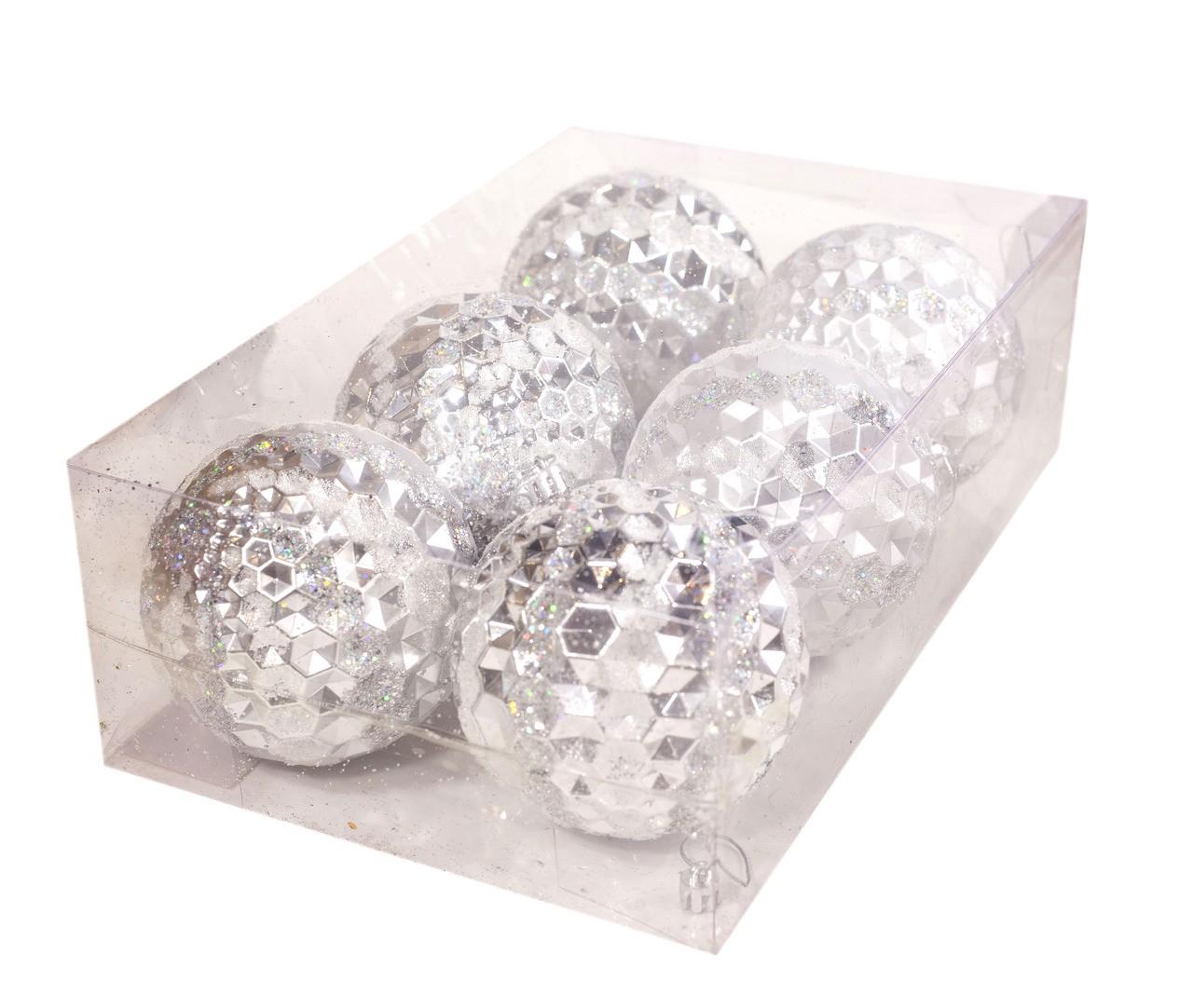 Conjunto Bolas Natalinas Prata - 6 Unidades