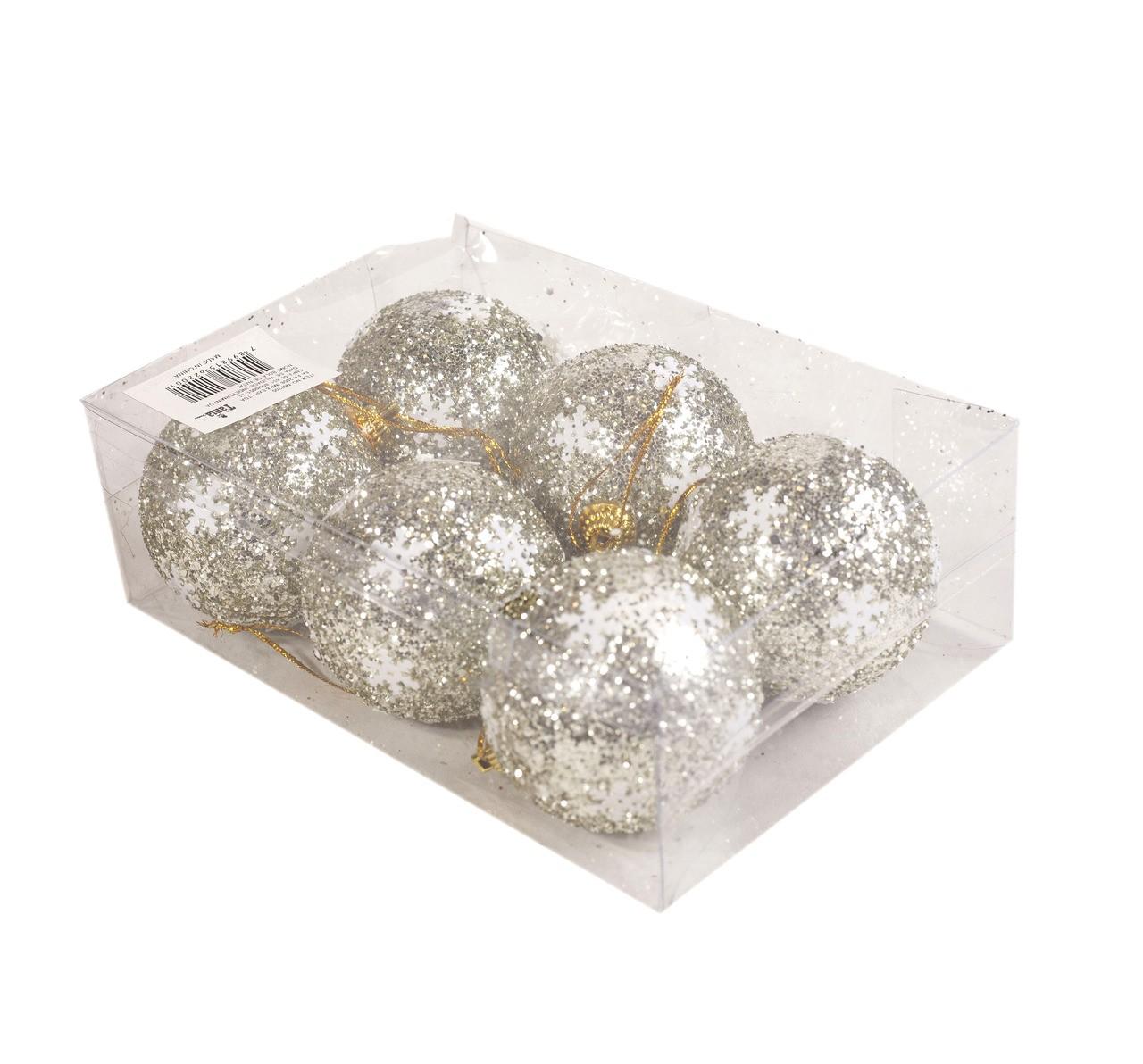 Conjunto De Bolas Natalinas Com Flocos De Neve - 6 Unidades