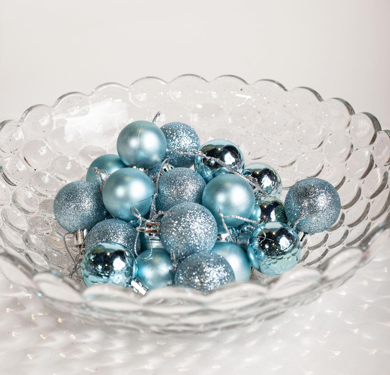 Conjunto Mini Bolas Natalino Azul - 24 Un