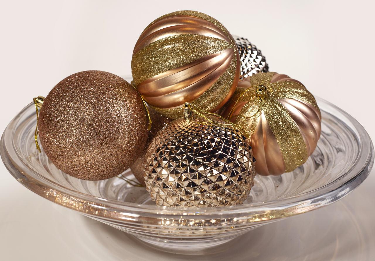 Conjuntos De Bolas Natalinas Bronze Brilhantes - 6 Un