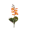 Flor de orquídea C/Folha - X8 - 50cm Altura - Laranja