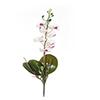 Flor de orquídea C/Folha - X8 - 50cm Altura - Branco Com Vemelho