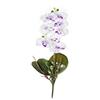 Flor de orquídea C/Folha - X8 - 52cm Altura - Branco com roxo