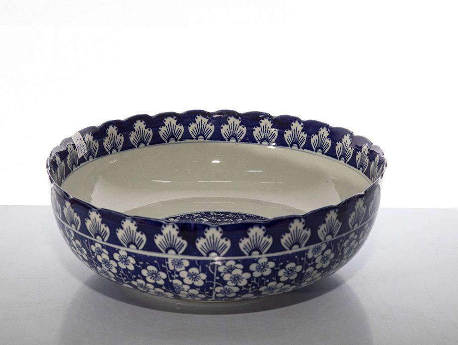 Cuba Cerâmica Chinesa Azul C/ Branco - 40Cm