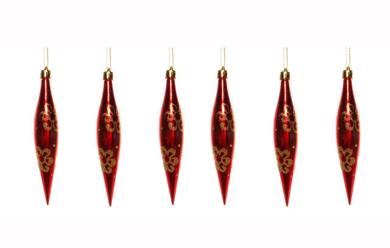 Conjunto De Enfeites Natalinos Vermelhos Com Detalhe Dourado - 6 Un