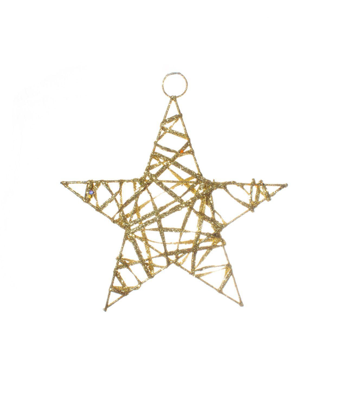 Enfeite para Pendurar Estrela Com linhas Douradas   -  1 UN