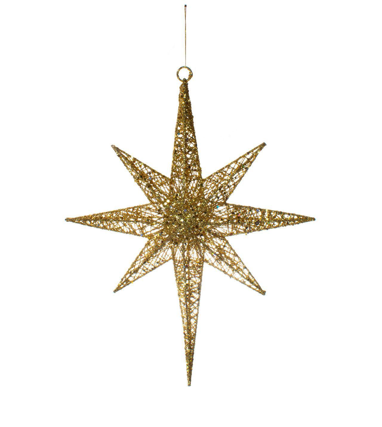 Enfeite Para Pendurar Estrela Natalina Dourada-  1 Un